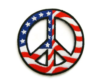 Peace Sign Symbol USA Flag Embroidered Applique Iron on Patch 7.8 cm. x 7.8 cm.