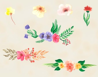 Watercolor Flowers, Digital Clip Art, Handpainted