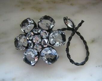 Vintage Black & Clear Rhinestone Flower Pin or Brooch