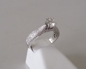 Custom made 1.10 town Diamond Engagement Ring in 14K White gold