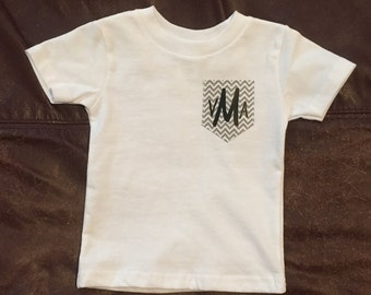 Monogramed t-shirt with pocket
