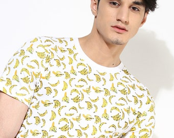 Banana Print T Shirt. Organic Cotton T-Shirt. Vegan Tees. Fair Trade Clothing. Gifts for Men. White Printed Tees.