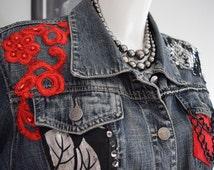 Decorated denim jacket