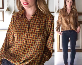 Vintage 70s Silkie Gold and Red Patterned Blouse - Free Ship