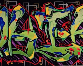 Example of custom graffiti lettering.