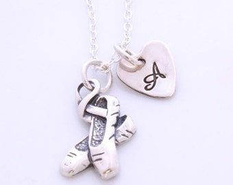 Ballerina and Initial Necklace