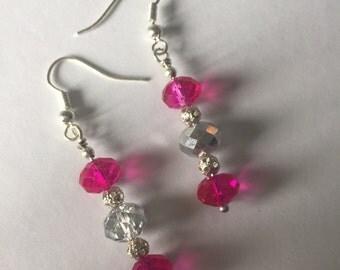 Hot Pink & Clear Beaded Earrings