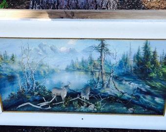 Rare Shadow Box Diorama Landscape Wildlife Painting by Hallquist
