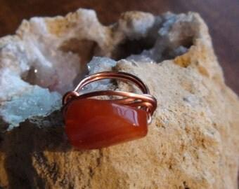Carnelian Bead Copper Ring