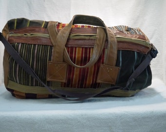 fabric leather travel bag
