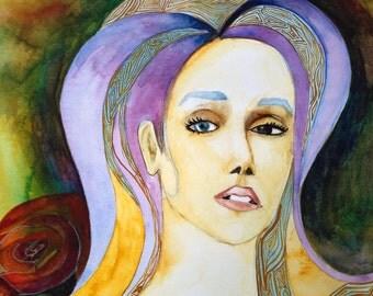Women in Purple watercolor painting