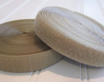 Hook & Loop Closure/Sew on Velcro/Polyester Hook and Loop/3/4 Inch/Set/3 Yards + Total/Tan