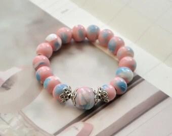 Mud-Q handmade Ceramics Pink Marbles Beaded Bracelet