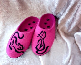 Wool Felted Cat Pet Lover Slippers Pink Fuscia Women Shoes Animal Style Valentines Gift for Girlfriend Wife Her Home Clogs Forever Friends