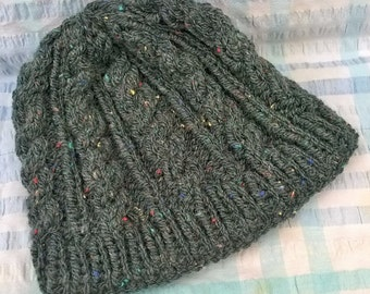 Hand-knitted grey/green rustic cabled beanie hat