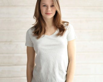 Women's V Neck T Shirt. 55 percent Hemp and 45 percent Organic Cotton. 4 colors. Short sleeve, Solid XS S M L by Times Hemp Company