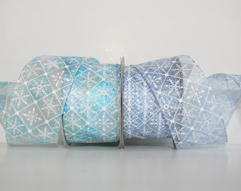 Snowdrift Sheer Christmas Ribbon - Wired Edge  - 2 Colors & 4 Widths - 20 Yard Roll