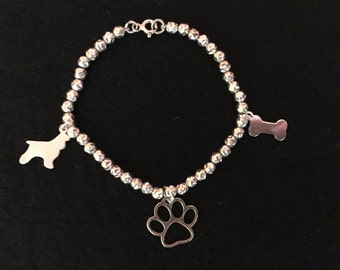 925 silver bracelet with nuggets, paw, bone pendants and cocker silhouette