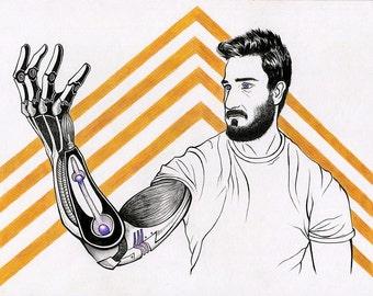 Kevin - Cyberpunk Illustration Print 11x15