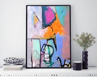 Pastel Abstract Original Painting Acrylic Mixed Media Pink Teal