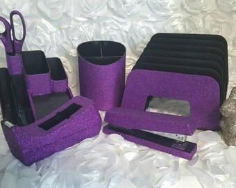Glitter Large Desk Set // School Supplies // Bling Office // Tape Dispenser Stapler Scissors Cup Organizer Sorter // Teacher