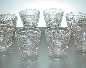 Big Top Peanut Butter Sherberts Gothic/Early American/Hazelware Crystal Set of 8