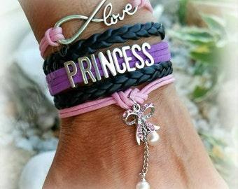 Princess - Infinity Love, purple/pink/black Rhinestone Bow Multi-strand Bracelet