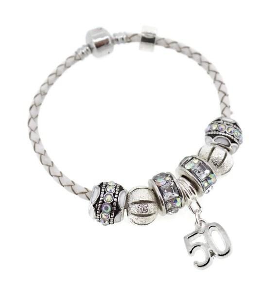 50th Birthday Gift Leather Charm Bracelet European Style Gift