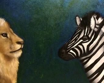 Original Zebra and Lion Print