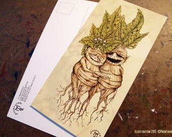 MANDRAGORAS postcard folk fantasy witchcraft wizard pagan fairy tale roots plants adorable couple of mandrake