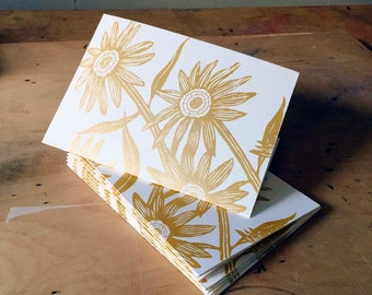 6 Printed Flower Cards