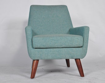 Mid Century Modern Lounge Chairs Quality Fabric with Walnut Wood Legs Teal Blue Grey Turquoise