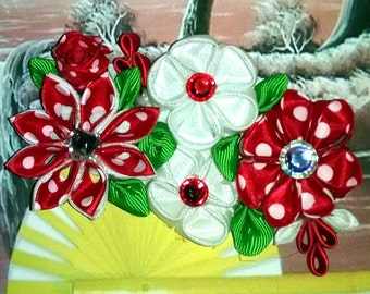 Kanzashi red and white flower hairbow