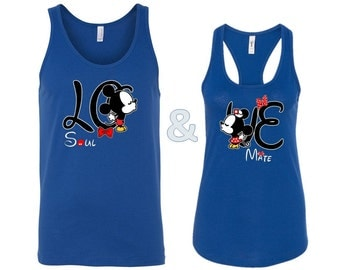 Couple Tank Tops Inspired Mickey Minnie Kissing Love Matching Tanks Couples Shirt Couple Tshirt His Hers Disney Inspired Tees Matching Love