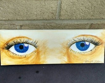 """Acrylic painting of eyes, one of a kind, 4""""x12"""""""