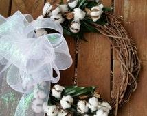 Front door wreath, Custom Made Wreath, Cotton Boll Wreath, Cotton Wreath, fall wreath, Farmhouse Wreath