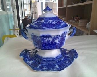 Antique Flo Blue Tureen