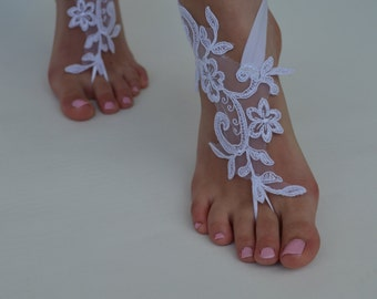 white lace sandal lace sandals barefoot sandals wedding bridal  free shipping
