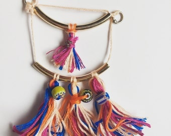 Tassel Bar Pendant with Clay Beads