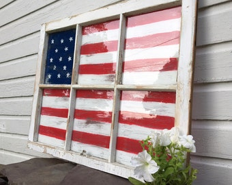 Reclaimed Window American Flag-FREE SHIPPING