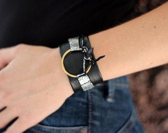 Black leather cuff bracelet, black leather wrap bracelet, leather biker bracelet, rock leather bracelet,