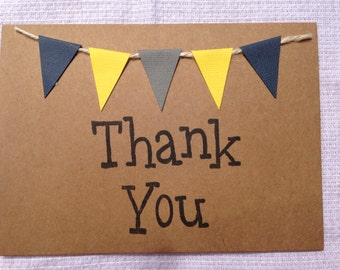 Handmade bunting thank you card