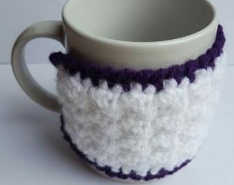 crochet cup cozy, white and purple cup cozy, coffee cup sleeve, mug sleeve, coffee gift, tea gift