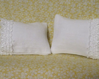 Set of 2 Standard Lace-trimmed Pillowcases for the Dollhouse