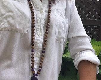 Purple woman mala howlite necklace