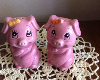 Vintage Pink Pig Salt and Pepper Shakers