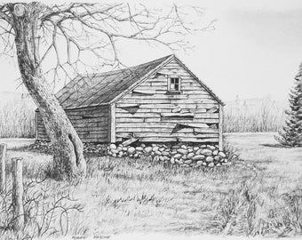 New England Barn Print, Old Barn, Rural New England