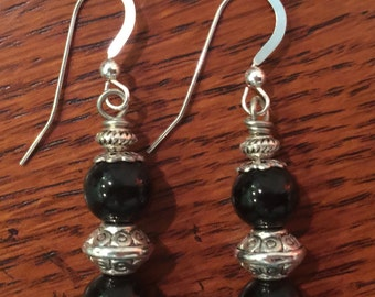 Hand Crafted, Black Agate Dangle Earrings with Sterling Silver Ear Wires