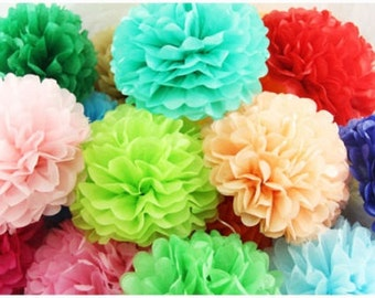 15Pcs Tissue Paper Pom Poms Flower Balls Home Wedding Party Decor Supplies
