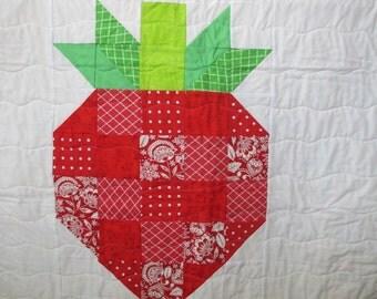 Modern baby quilt, strawberry baby quilt, baby girl nursery, crib bedding, handmade